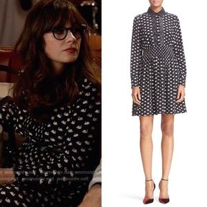 Kate Spade | Silk Swan Print Shirtdress Navy